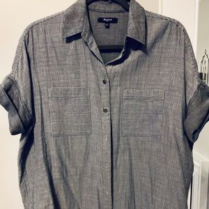Madewell striped short sleeved button down, size S